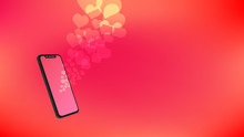 Illustration Of Mobile Phone And Bokeh Love Floating On Blur Color. Love, Anniversary And Valentine's Concept.