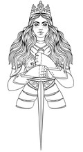 Portrait Of Beautiful Girl With A Sword And Crown. Female Knight In Armour. Vector Illustration. Medieval Aesthetics. Girl Power. Joan Of Arc Inspired. Sticker, Patch, T-shirt Print, Logo Design.