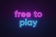 Neon Text Free To Play, Purple...