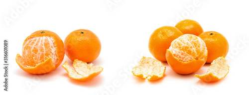 tangerine or mandarin fruit isolated on white background;