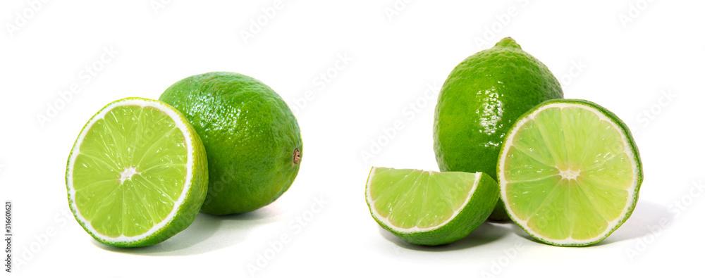 Fototapeta Fresh lime isolated on white