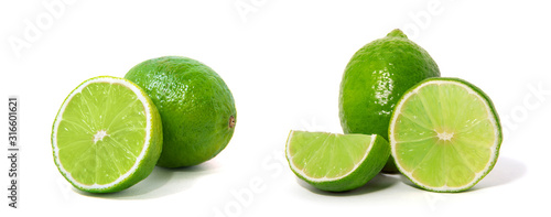 Fresh lime isolated on white - 316601621