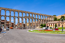 Ancient Aqueduct In Segovia, S...