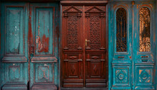 Ancient Shabby Blue And Brown Doors Collage