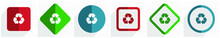 Recycle Icon Set, Flat Design ...