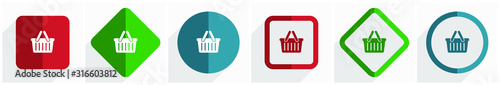 Obraz Shopping basket icon set, flat design vector illustration in 6 options for webdesign and mobile applications in eps 10 - fototapety do salonu