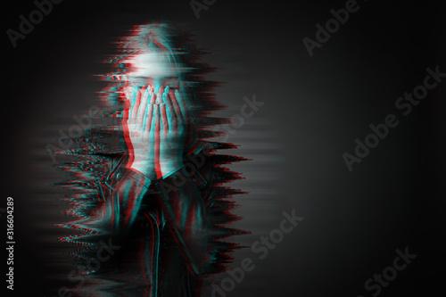 Black and white portrait of sad teenage girl on dark background Canvas Print
