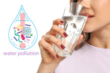Young Woman Drinking Water And Drawn Drop With Microbes On White Background. Problem Of Pollution
