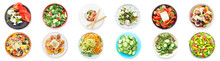 Set Of Different Tasty Salads On White Background