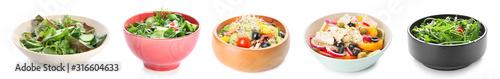 Obraz Plate with fresh vegetable salad on white background - fototapety do salonu