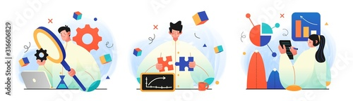 Fototapeta Science research illustrations. Concept illustrations of Scientists characters making research in a laboratory. Perfect for web design, banner, mobile app, landing page obraz