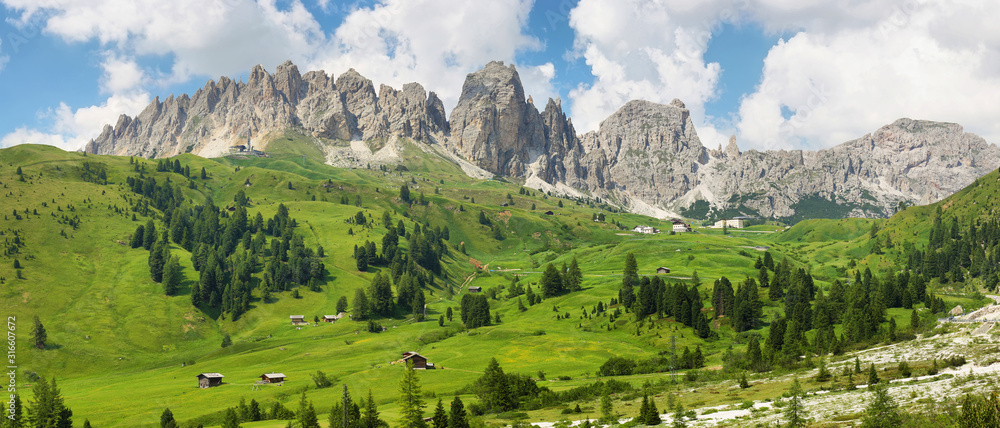 Fototapeta View of mountains and valley from Gardena pass, Dolomites Alps , Italy, Europe