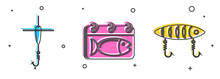 Set Fishing Hook And Float, Calendar With A Fish And Fishing Lure Icon. Vector