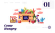 Eat Local Website Landing Page. Tiny Male and Female Characters Buy Fresh Healthy Tasty and Organic Seasonal Food Groceries Products without Exporting Web Page Banner. Cartoon Flat Vector Illustration