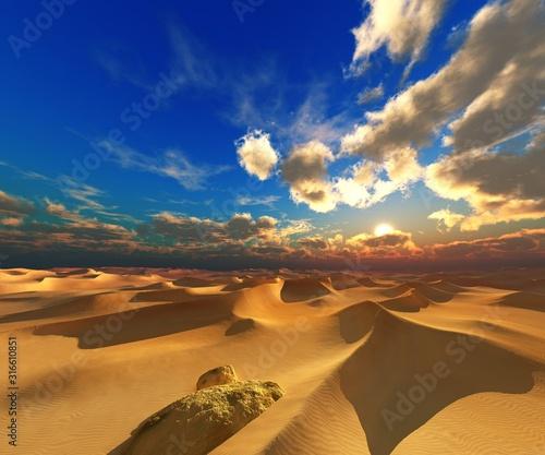 Fototapeta Piasek  sand-desert-at-sunset-desert-sunset-sand-under-the-setting-sun-sun-and-clouds-over-the-desert