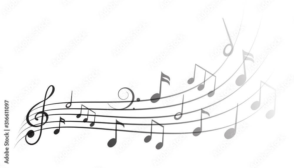 Fototapeta Music notes wave isolated, group musical notes background – vector