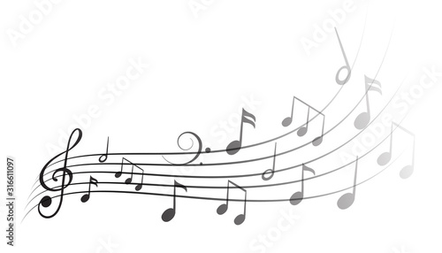 Music notes wave isolated, group musical notes background – vector