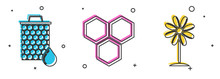 Set Honeycomb, Honeycomb And Flower Icon. Vector