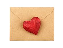 Red Wooden Heart On Envelope I...