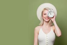 Beautiful Blonde Girl In White...