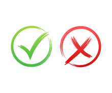 Tick And Cross Signs. Green Ch...