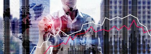 Cuadros en Lienzo Financial Crysis Recession Economic concept.