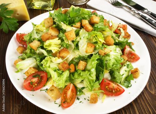 Obraz na plátně Salat mit Croutons