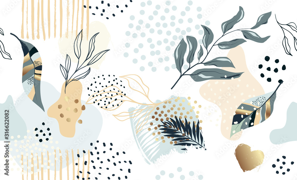 Fototapeta Seamless exotic pattern with tropical plants and gold glitter elements. Vector