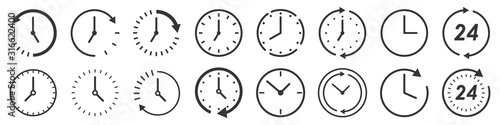 Fototapeta Vector Time and Clock icons in thin line style. obraz