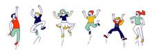 Happy Kids Stand In Row Dancin...