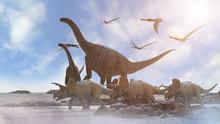 Different Dinosaurs On Prehist...