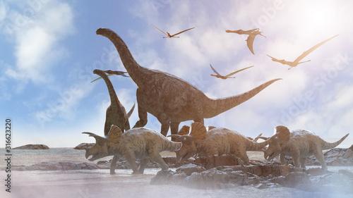 Fotografie, Tablou different dinosaurs on prehistoric background of nature, 3d render