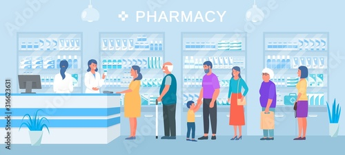 Fotografia Pharmacy, people medicines buyers queue, smiling pharmacist seller vector illustration