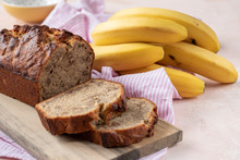 Sliced Banana Bread With A Walnuts Nuts
