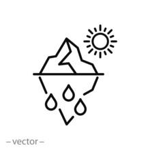 Iceberg Melting Icon, Sun And Glacier, Change Climate, Problem Global Warming, Thin Line Web Symbol On White Background - Editable Stroke Vector Illustration Eps10