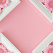 above, background, bloom, blossom, card, copy space, flat, flat lay, flat lay frame, floral, flower, frame, gerbera, holiday postcard, invitation, lay, march 8, minimal, mockup, pastel, pattern, petal