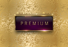 Premium Purple Label With Rectangle Golden Frame Crown On Gold Floral Background. Royal Glossy Vip Template. Vector Luxury Illustration. Vintage Invitation Or Announcement Card Design