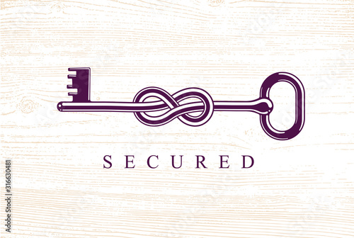Knotted key allegorical symbol of keep secret, vintage antique turnkey in a knot, defense and security concept, password personal data protection, vector logo Slika na platnu
