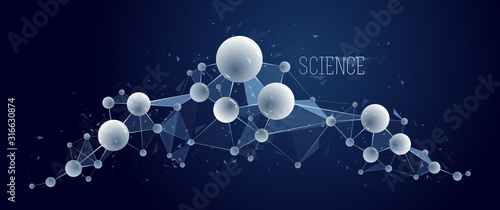 Obraz Molecules vector illustration, science chemistry and physics theme abstract background, micro and nano science and technology theme, atoms and microscopic particles. - fototapety do salonu