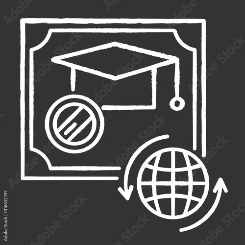 Diploma chalk white icon on black background Canvas Print