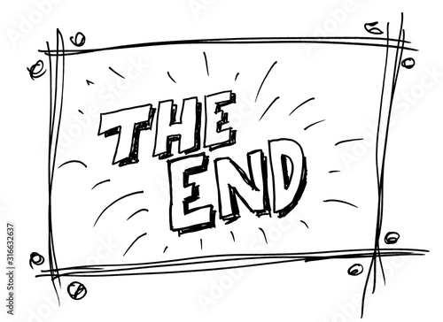 The End doodle drawing by hand
