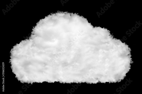 Photo Cloud icon shape made of clouds on black background ready for mask or blending m