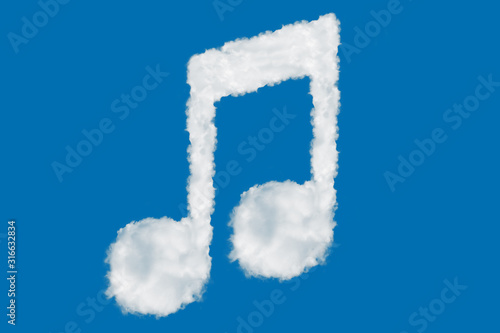 Music note font shape element made of clouds on blue background over sky Wallpaper Mural