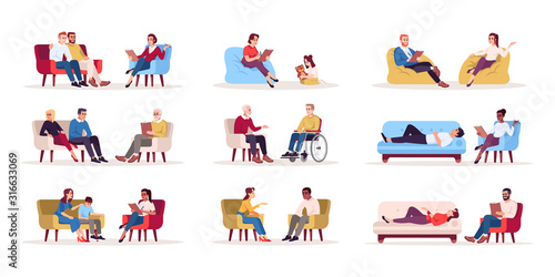 Obraz na plátne Psychology consultation flat vector illustrations set