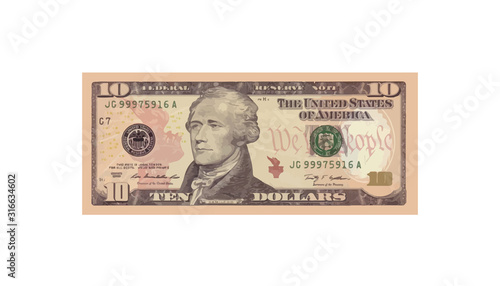 Cuadros en Lienzo 10 Dollars money realistic paper banknotes of USA - vector business art illustra
