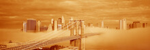 New York City, New York Shows Brooklyn Bridge With Fog Under Neath It