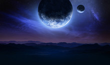 Dark Blue Space Art With Landscape And Planets In The Sky. Mountains And Clouds. Elements Of This Image Furnished By NASA