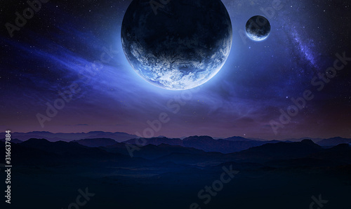 Obraz Dark blue space art with landscape and planets in the sky. Mountains and clouds. Elements of this image furnished by NASA - fototapety do salonu