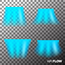 Air Flow Of Clean Or Cold Air From Conditioner. Isolated On Transparent Background.