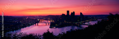 Photo This is sunrise on the Allegheny and Monongahela Rivers where they meet the Ohio River